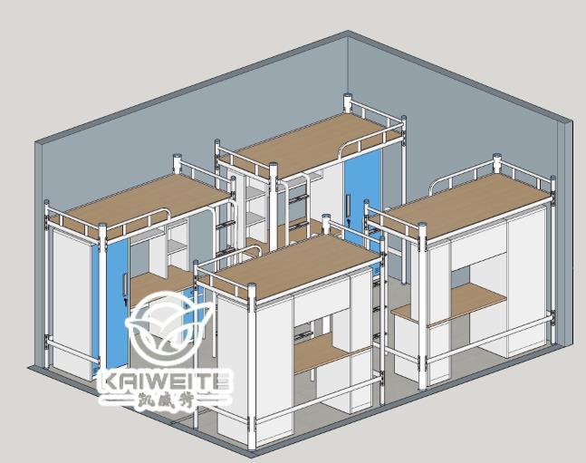 凯威特宿舍家具3D效果图案例 凯威特宿舍家具有最专业的设计,最成熟的生产经验及最完善的生产设备,可以满足客户的不同服务需求,可以帮客户节省材料,降低工艺难度,从而达到给每一位与凯威特合作的客户降至30%至40%的成本,给客户性价比最高的学生公寓床。超过300家企业单位学生公寓床定做经验,引领在宿舍家具行业前端。