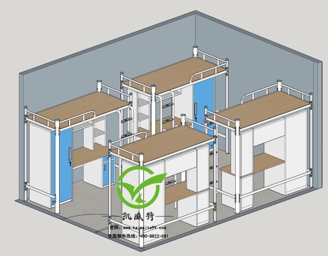 uedbet赫塔菲官网学生床宿舍配置3D效果图