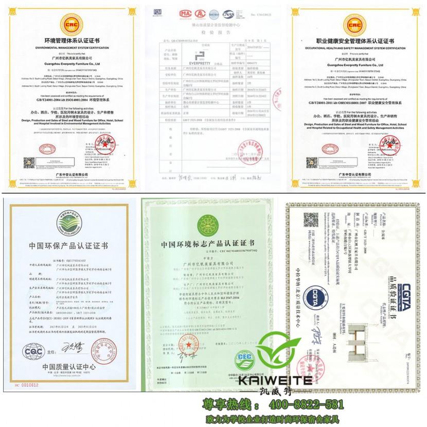 凯威特學生床厂家部分资质证书