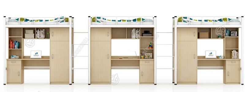 凯威特三联体钢木公寓床