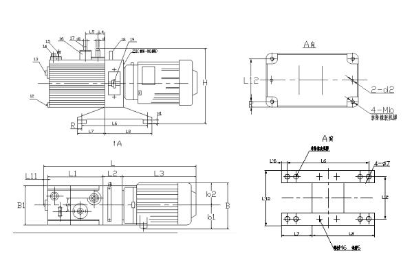 ML-2XZ直联旋片式真空泵外观尺寸图